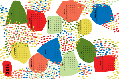 HAPPY_2018_CALENDAR fabric by yasminah_combary on Spoonflower - custom fabric