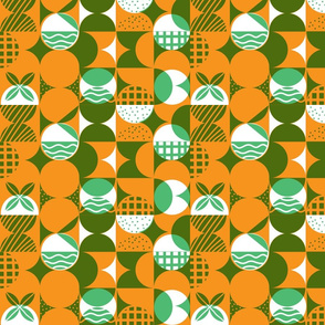 Geometrical layered pattern in orange and green