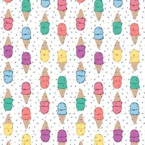 Rainbow Ice Cream Cones w/ Sprinkles