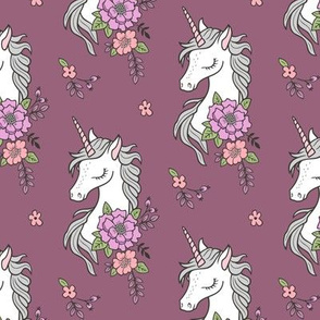 Dreamy Unicorn & Vintage Boho Flowers on Mauve Smaller