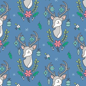 Christmas Deer Head with Ornaments & Floral on Dark Blue Navy Smaller