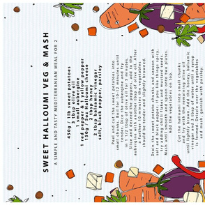 Sweet Halloumi Veg & Mash Recipe tea towel
