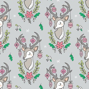 Christmas Deer Head with Ornaments & Floral on Light Grey Smaller
