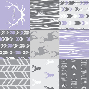 patchwork deer -lilac and grey