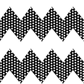 White Polka Dots on Black Chevron Stripe