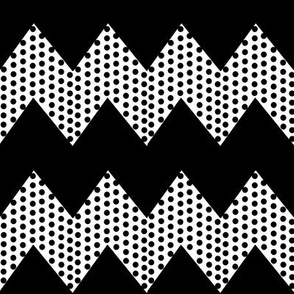 Black Polka Dots on White Chevron_Stripe