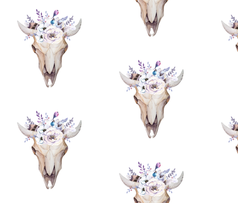 Watercolor Cow Skull and Flowers fabric by hudsondesigncompany on Spoonflower - custom fabric