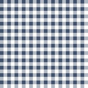 Quarter Inch Blue Jeans Blue and White Gingham Check