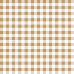 Quarter Inch Camel Brown and White Gingham Check