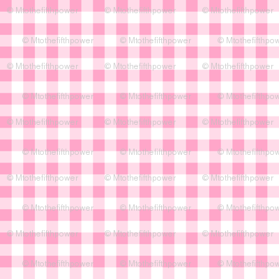 Quarter Inch Carnation Pink and White Gingham Check