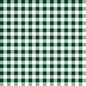 Quarter Inch Evergreen and White Gingham Check