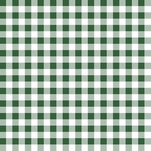 Quarter Inch Hunter Green and White Gingham Check