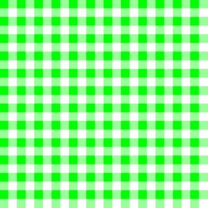 Quarter Inch Lime Green and White Gingham Check