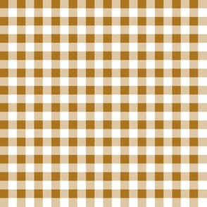 Quarter Inch Matte Antique Gold and White Gingham Check