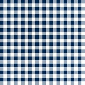Quarter Inch Navy Blue and White Gingham Check