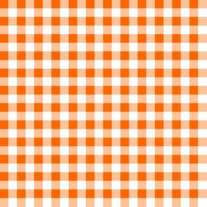 Quarter Inch Orange and White Gingham Check