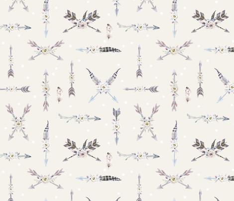 southwest arrows and feathers on cream fabric hudsondesigncompany