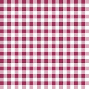 Quarter Inch Sangria Pink and White Gingham Check
