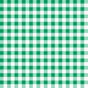 Quarter Inch Shamrock Green and White Gingham Check