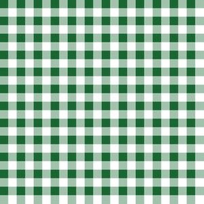 Quarter Inch Spruce Green and White Gingham Check