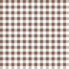 Quarter Inch Taupe Brown and White Gingham Check