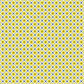 Talavera - Half Inch Blue Grid with Large Yellow Dots