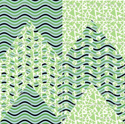 Green Polka Dot Waves Chevron_Stripe