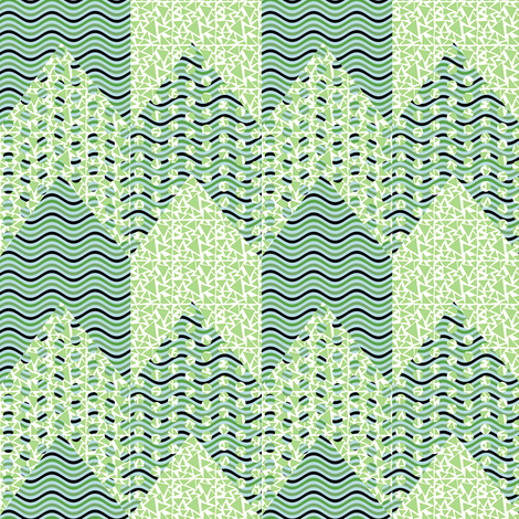 Green Polka Dot Waves Chevron_Stripe fabric by eclectic_house on Spoonflower - custom fabric