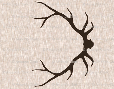 Antlers on Linen- Dark Brown on tan