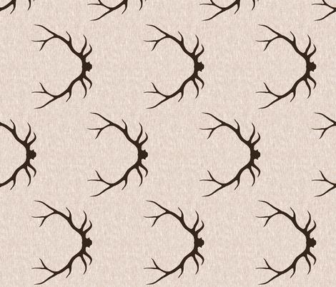 Antlers on Linen- Dark Brown on tan fabric by sugarpinedesign on Spoonflower - custom fabric