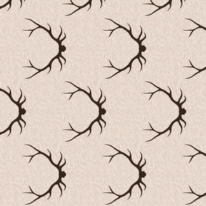 Antlers on Linen- Dark Brown on tan
