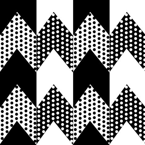 Black and White Polka Dots on Black and White Chevron Stripes fabric by eclectic_house on Spoonflower - custom fabric