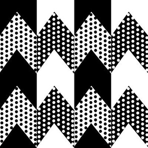Black and White Polka Dots on Black and White Chevron Stripes