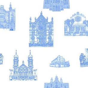 Synagogue Toile de Jouy, Blue on White
