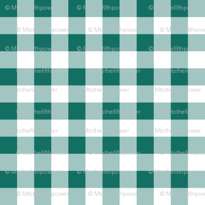 Half Inch Cyan Turquoise Blue and White Gingham Check