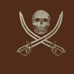 Mouldering Ol' Jolly Roger Skull and Crossbones on Chestnut