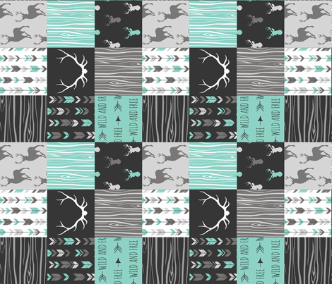 Light Teal Ironwood Patchwork Deer - Rotated fabric by sugarpinedesign on Spoonflower - custom fabric