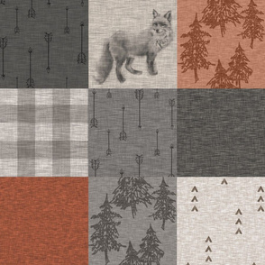 Fox n Arrows Quilt - rust and grey