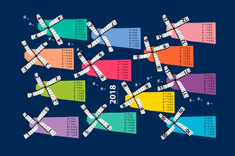 mills calendar 2018 fabric by uramarinka on Spoonflower - custom fabric
