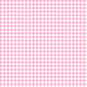 Eighth Inch Carnation Pink and White Gingham Check