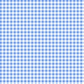 Eighth Inch Cornflower Blue and White Gingham Check