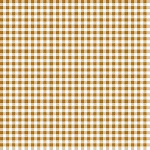 Eighth Inch Matte Antique Gold and White Gingham Check