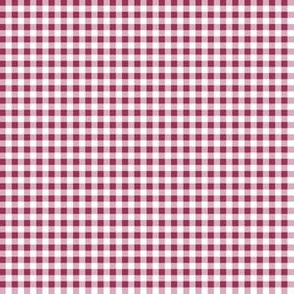 Eighth Inch Sangria Pink and White Gingham Check