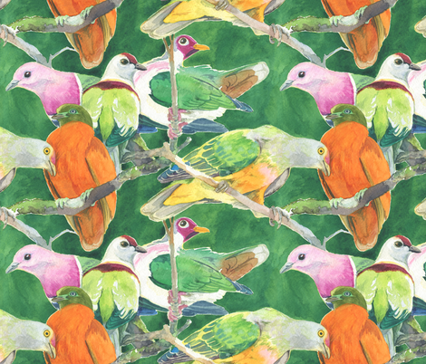 Fruit Doves in Green fabric by infamous_sphere_ on Spoonflower - custom fabric