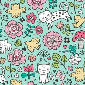 Cats Birds & Flowers Spring Doodle on Mint Green