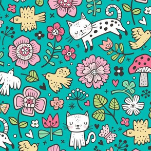 Cats Birds & Flowers Spring Doodle on Green
