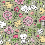 Cats Birds & Flowers Doodle on Olive Green