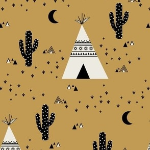 Teepee - Brown Gold Background