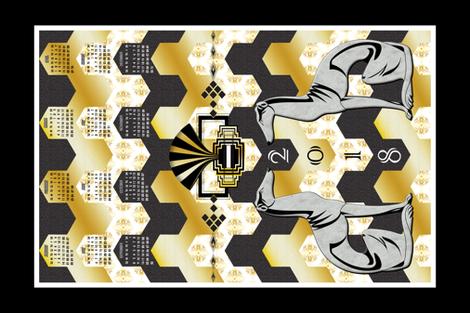 Art Deco Tea Towel Calendar 2018 fabric by vannina on Spoonflower - custom fabric
