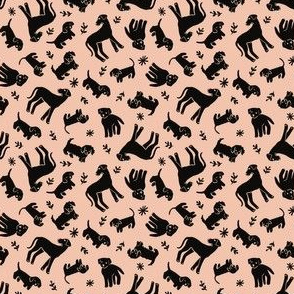 Black dogs on pink